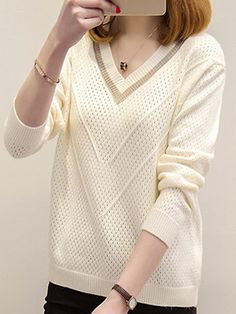 V Neck Patchwork Elegant Long Sleeve Knit Pullover - Nice Look Loose Knit Sweaters, Pullover Sweaters, Latest Fashion Clothes, Cheap Fashion, Fashion Dresses, Women's Fashion, Long Sleeve Sweater, Types Of Sleeves, Trendy Outfits