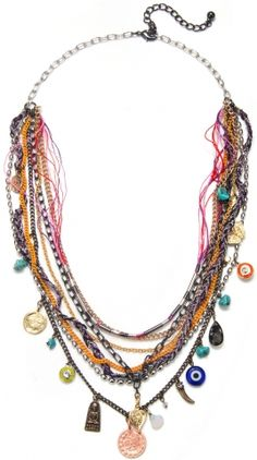 Painted Chain and Charm Necklace  Capewell and Co.