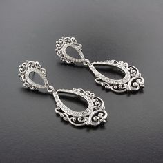 """SAVE 25% with code: PINTEREST1 for a limited time!  Vintage-chic statement earrings with crystal accents.  Rhodium plate (non-tarnishing).  2 3/4"""" long."""