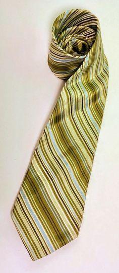 9135977f508f98 Ted Baker London Men s 100% Silk Tie Mens Gift Green Diagonal Stripes