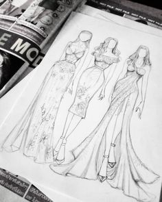 "People jokingly tell me, "" I can only draw stick figures! Dress Design Drawing, Dress Design Sketches, Fashion Design Sketchbook, Fashion Design Drawings, Fashion Sketches, Dress Drawing, Fashion Figure Drawing, Fashion Drawing Dresses, Drawing Fashion"