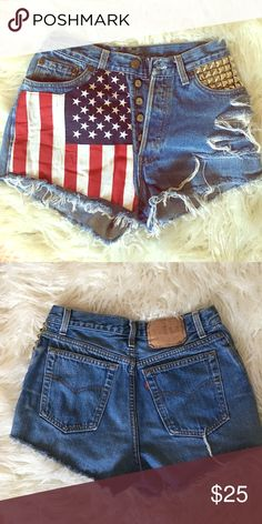 Levi's high waisted shorts Lightly used Levi high waisted shorts with studs and print. Levi's Shorts Jean Shorts