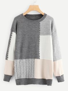 Shop Cut and Sew Drop Shoulder Jumper online. SHEIN offers Cut and Sew Drop Shoulder Jumper & more to fit your fashionable needs. Crochet Stitches, Knit Crochet, Sweater Outfits, Pulls, Color Blocking, Knitwear, Jumper, Fashion Outfits, Fashion Fashion