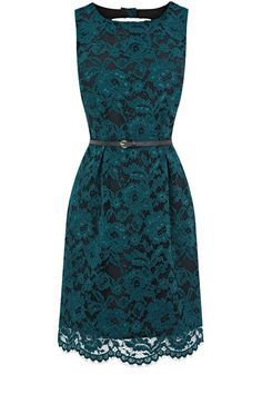 Sexy green lace dress, with a classy thin brown belt.