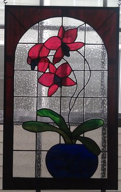 Stained Glass Orchid Panel - handmade by me!! on Etsy, $395.00