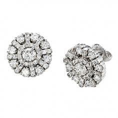 Aura Round Diamond Snowflake Stud Earrings