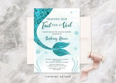 Mermaid Bridal Shower Invitation, Little Mermaid, Bridal Shower, Trading Her Tail For A Veil, Nautic Mermaid Bridal Showers, Nautical Bridal Showers, Bridal Shower Invitations, Card Sizes, The Little Mermaid, Veil, Rsvp, Party Supplies, Place Card Holders