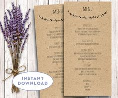 Welcome! Instantly download this easy to use 4x8 rustic menu.  Template is compatible with Mac & PC and Word & Pages.  INCLUDED: Two menus