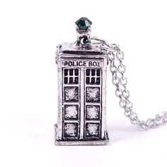 3D Tardis Police Box Pewter Pendant with 20-inch Long Chain Necklace
