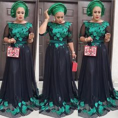 Beautiful And Elegant Aso-Ebi Styles For Your Next Owambe! African Maxi Dresses, African Attire, African Wear, African Outfits, Lace Dresses, African Women, Afro, Africa Dress, African Lace