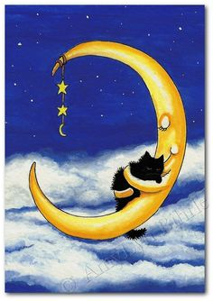 Cats Cradle Black Cat Night time Moon Art Print by AmyLynBihrle #illustration #moon #cat