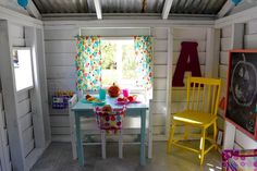 Colorful additions to Playhouse interior Playhouse Decor, Simple Playhouse, Playhouse Interior, Outside Playhouse, Girls Playhouse, Backyard Playhouse, Build A Playhouse, Wooden Playhouse, Playhouse Ideas