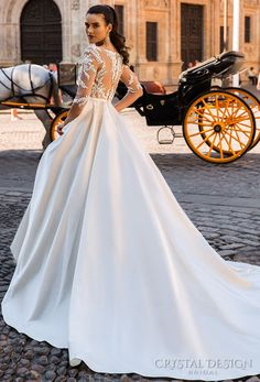 crystal design 2017 bridal three quarter sleeves sheer boat sweetheart neckline heavily embellished bodice romantic lace a line wedding dress lace back chapel train (jaimi) bv -- Beautiful Wedding Dresses from the 2017 Crystal Design Collection Amazing Wedding Dress, Dream Wedding Dresses, Bridal Dresses, Wedding Gowns, Lace Wedding, 2017 Bridal, Princess Wedding, Marie, Ball Gowns