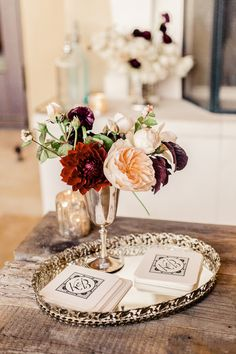 Petite centerpiece in vintage silver | Luxurious Metallics and Jewel Toned Wedding Inspiration from Zac Posen