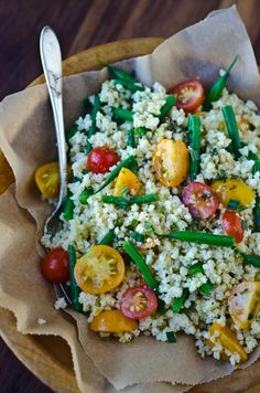 Millet Salad with Green beans, tarragon and baby toms.