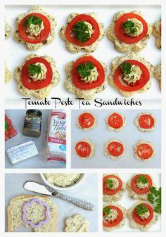 Pink Piccadilly Pastries: Fancy Tomato Pesto Tea Sandwiches