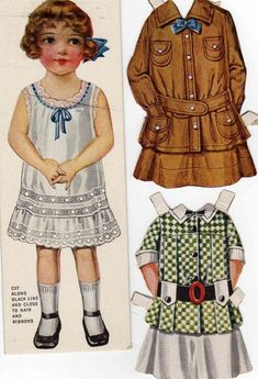 Ruth paper doll, American Colortype Co. costumes & Chicago early through WWI Victorian Paper Dolls, Vintage Paper Dolls, Paper Dolls Clothing, Doll Clothes, Paper Toys, Paper Crafts, Bobe, Doll Painting, Girl Inspiration
