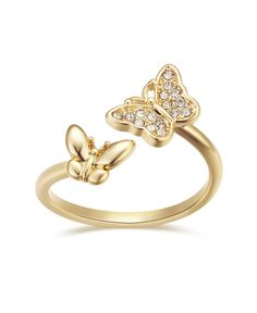 Forget about the butterflies in your stomach, get butterflies on your fingers with this gold plated crystal butterfly bypass ring from Unwritten. Body Jewelry, Jewelry Rings, Jewelry Watches, Jewlery, Bypass Ring, Open Ring, Olivia Burton, Rings Online, Ankle Bracelets