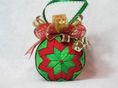 Quilted Christmas Ornament no sew green by KCFabricOrnaments, $15.00