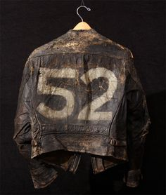 Vintage Cars - Super-distressed and very well-worn describe this the awesome early biker jacket with handpainted on the back. Vintage Leather Jacket, Biker Leather, Leather Men, Leather Jackets, Leather Belts, Black Leather, Jacket Style, Vest Jacket, Bomber Jacket