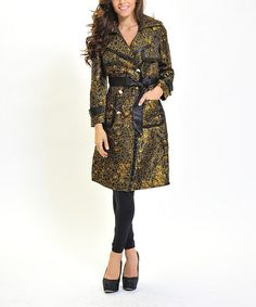 Take a look at this Black & Gold Circles Trench Coat by Zac Studio on #zulily today! $45 !!