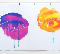 Artist combines watercolors and graphic design