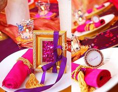 small party table decorations and rolled like percian carpet napkins decorated with ribbons and golden tassels for party table decorating ideas in moroccan style Moroccan Theme Party, Indian Party Themes, Moroccan Wedding, Moroccan Style, Indian Theme, Moroccan Design, Arabian Party, Arabian Nights Theme, Arabian Theme