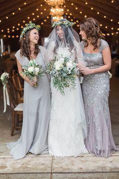 Metallic Bridesmaid Dresses, Grey Bridesmaids, Bridesmaid Dress Colors, Wedding Dresses, Bridesmaid Inspiration, Wedding Inspiration, Wedding Colors, Wedding Styles, Wedding Flowers