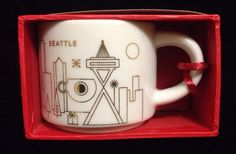 Starbucks City Mug Ornament Seattle Christmas Gold White You Are Here Bauble