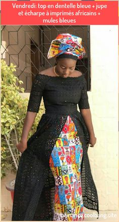 Friday blue lace top African print skirt and scarf blue mules African Fashion Ankara, Latest African Fashion Dresses, African Dresses For Women, African Print Fashion, Africa Fashion, African Attire, African Women, African Prints, African Style