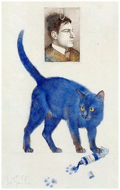 Michael Mathias Prechtl (April Amberg – March Nuremberg) was a German artist, illustrator and cartoonist. Art And Illustration, Cat Illustrations, Cat Cards, Design Blog, Blue Cats, Cat Drawing, I Love Cats, Oeuvre D'art, Beautiful Creatures