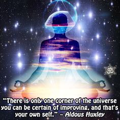 """""""There is only one corner of the universe you can be certain of improving, and that's your own self. Realization Quotes, Self Realization, Spiritual Messages, Spiritual Quotes, Aldous Huxley Quotes, Create Your Own Reality, Talent Quotes, Universe Quotes, Never Stop Learning"""