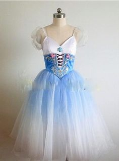 This stage costume is created for the ballet Giselle Act 1, but is also suitable for other ballets like Napoli, La Vivandiere, La Fille Mal Gardee, Coppelia, Flower Festival in Genzano and many other.