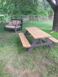 We even used That same paint on our picnic table legs to tie in the furniture