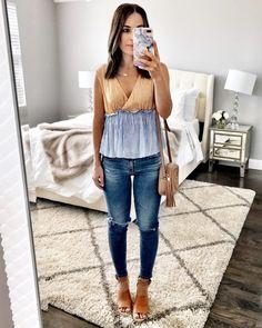 Spring stripe top & jeans outfit cute date night look. Spring Outfits, Trendy Outfits, Cute Outfits, Fashion Outfits, Fashion Hats, Fashion Edgy, Outfit Summer, Kawaii Fashion, Cheap Fashion