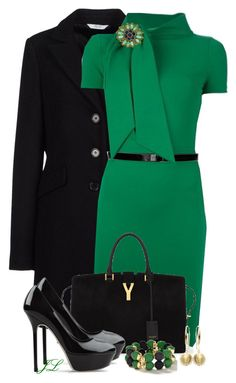 """Emerald Green"" by jenalind ❤ liked on Polyvore featuring LIU•JO Jeans, Yves Saint Laurent, Sergio Rossi, Tory Burch, Buccellati, Banana Republic and Adami & Martucci"