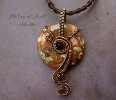 Gemstone pendant Wire Wrapped Pendant, Blossom Agate and copper, wire wrapped jewelry handmade by PillarOfSaltStudio