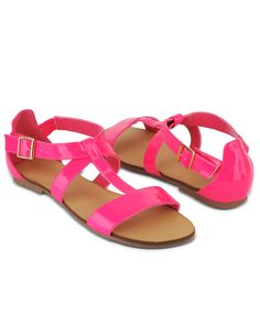 crossed strap sandals in neon pink