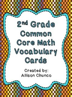 Common Core Math Vocabulary Cards_2nd Grade_Brown Polka Dots $5