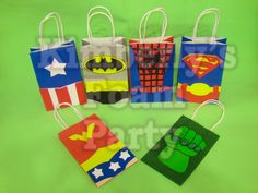 6 Super Hero Party bags by kimberlysfoamparty on Etsy, $17.00