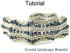 Beaded Crystal Landscape Bracelet Herringbone Beading Pattern Tutorial | Simple Bead Patterns