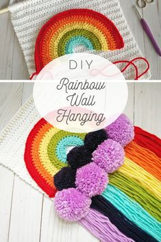Crochet Pattern, Rainbow wall hanging crochet pattern, crochet rainbow, crochet nursery decor, An easy and quick crochet pattern to help you make your own Rainbow wall hanging with pom poms and Crochet Wall Art, Crochet Wall Hangings, Crochet Home Decor, Crochet Yarn, Crochet Toys, Free Crochet, Rainbow Nursery, Rainbow Wall, Quick Crochet Patterns