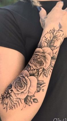 Pretty Tattoos For Women, Rose Tattoos For Women, Tattoos For Women Half Sleeve, Tattoos For Women Small, Small Tattoos, Half Sleeve Tattoos Forearm, Forarm Tattoos, Body Art Tattoos, Rose Tattoo Forearm