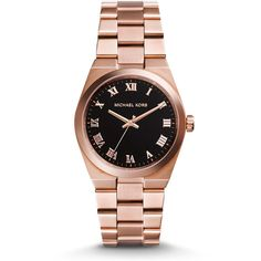 Michael Kors Mid-Size Channing Rose Golden Stainless Steel Three-Hand... ($124) ❤ liked on Polyvore featuring jewelry, watches, rose jewelry, stainless steel wrist watch, stainless steel jewelry, black face watches and water resistant watches