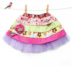 PDF Girls easter ruffle skirt pattern & fabric by KikoiPatterns, $5.50