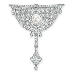 A BELLE ÉPOQUE DIAMOND AND NATURAL PEARL BROOCH, BY CARTIER   Designed as an openwork old European and single-cut diamond half moon shaped plaque, centering upon an articulated natural pearl, suspending an old European and rose-cut diamond pendant, mounted in platinum, circa 1910, with French assay marks and maker's mark  Signed Cartier, Paris