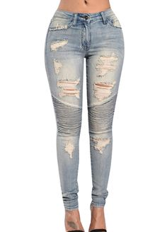 Wash Denim Pleated Elastic Ripped Pencil Jeans_Butt Lifting Skinny Jeans_Women Jeans_Sexy Lingeire | Cheap Plus Size Lingerie At Wholesale Price | Feelovely.com