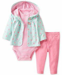 Carter's Baby Set, Baby Girls 3-Piece Cardigan, Bodysuit and Pants $12