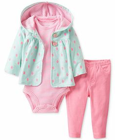 Carter\'s Baby Set, Baby Girls 3-Piece Cardigan, Bodysuit and Pants $12