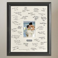 Capture and display wedding memories with this 19 x 23 personalized photo signature frame, complete with canvas signature mat and engraved plate.  Place the signature mat on your welcome table